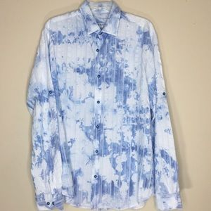 Men's Long Sleeve Relaxed Fit Blue/White Shirt